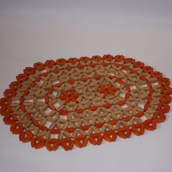 Vintage Beaded Trivet Placemat 70s style